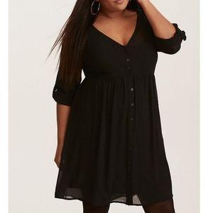 Torrid plus size chiffon shirt dress, size 2X